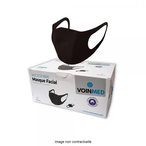 masque barrière noir en microfibre lavable et réutilisable