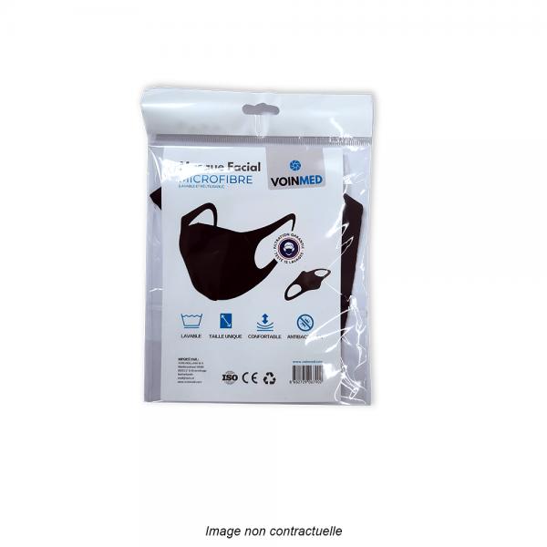masque barrière noir en microfibre lavable et réutilisable en emballage individuel