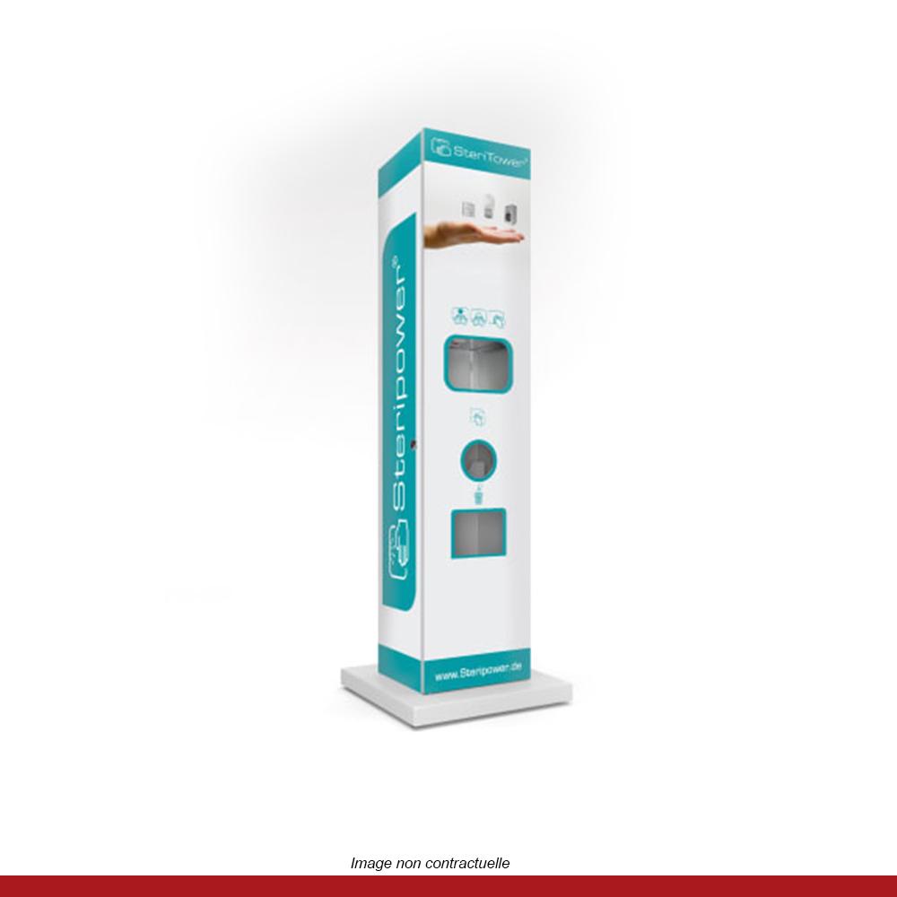 borne-desinfection-steritower-brumisateur-solution-hydroalcoolique-personnalisable